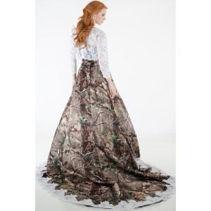 Camo wedding gown with lace accent camouflage prom wedding for Camo accented wedding dresses