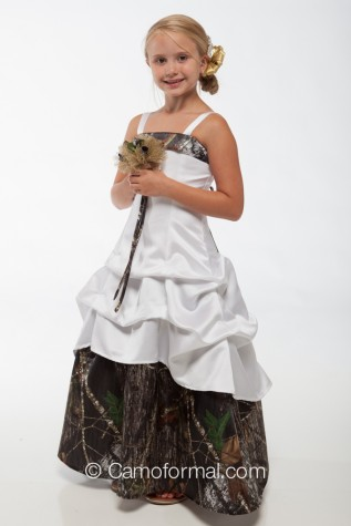 3011 camo and satin flower-girl with pickup skirt