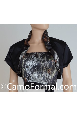 Jacket, Bolero, Shown in Black Satin with Ruffled Neck -