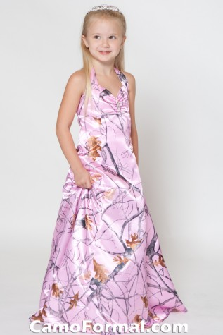 Flower-girl dress shown in True Timber Pink Snowfall