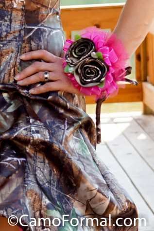 2 rose corsage shown in Realtree APG and Fuchsia