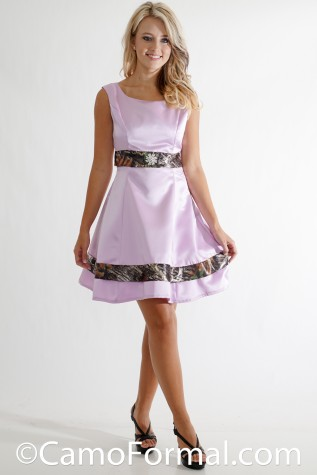 Full View: 3062 BP Sleeveless Aline Satin Dress with Camo Trim