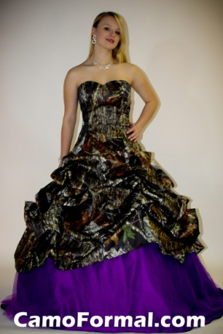 3066 camo pickup ball gown camouflage prom wedding for Camo ribbon for wedding dress