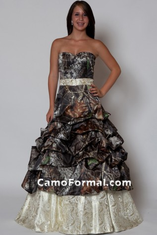 3066 Camo and Gold Paisley Brocade Dress