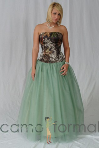 Sage Tulle Ball Gown Skirt with Strapless Top