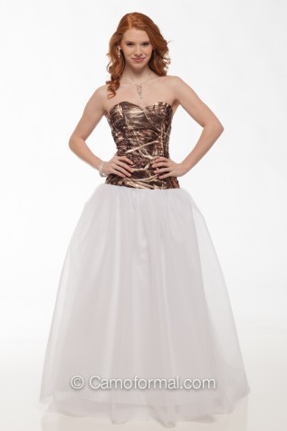 Sequin Top Camo Ball Gown shown in Max-4 Sequin and White Net