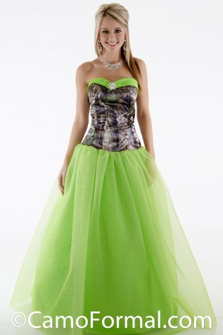3658VBGN Ball Gown shown in Realtree APG and Apple Green Glitter-Net