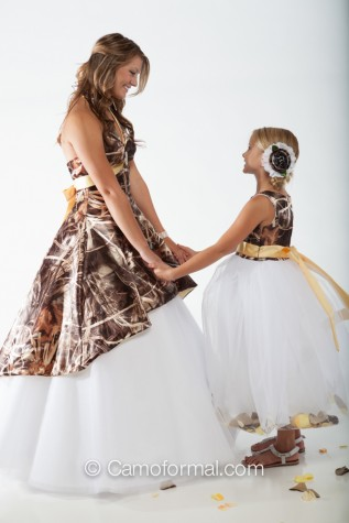 "Realtree MAX-4 and Canary  - 3659M dress over Circle Net Skirt  with 5602 ""Morgan"" flower-girl dress"