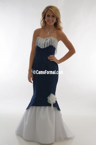 3808 Denim and Fringe Slim Mermaid with Tulle Skirt