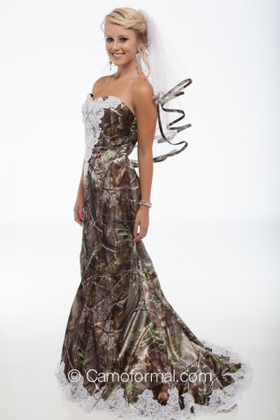 "3887 ""Ellen"" Camo Mermaid Wedding Gown with Sweep Train"