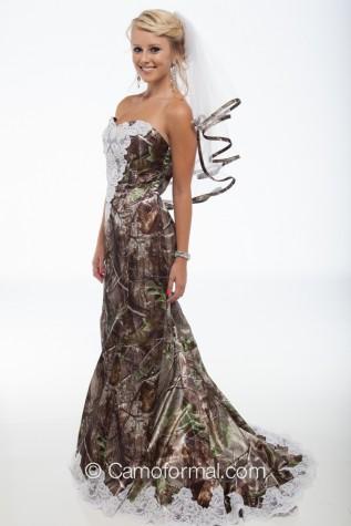 "3887 ""Ellen"" Camo Mermaid Wedding Gown with Sweep Train"