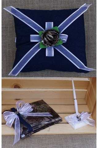 Denim and Camo PILLOW, GUEST BOOK and GUEST BOOK PEN