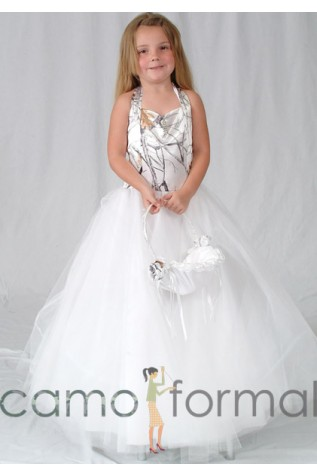 White Snowfall True Timber camo Child Ball Gown