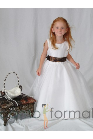 5152 White Organza Ballet Length Dress with Camo Sash