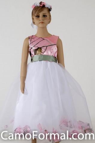 "5602 ""Morgan"" Camo and Petal Flower-girl dress"