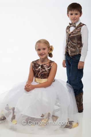 "5602 ""Morgan"" Camo and Petal Flower-girl dress"