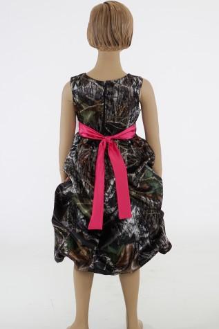 5603 Flower-girl Dress shown in Mossy Oak and Fuchsia