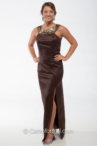 "7003 ""V"" Accent Mocha Dress with APG"