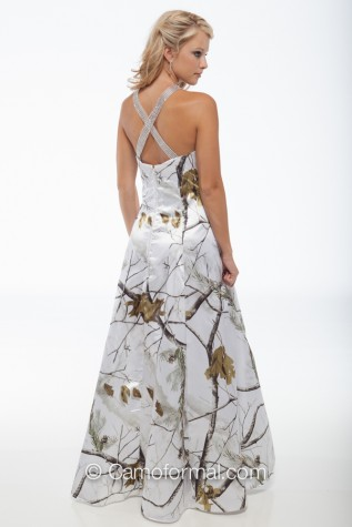 7009 AP SNOW - Camo Dress with X Back