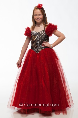 8000fg Girls and Pre-Teen Pageant Dress in Mossy Oak and Red Glitter Net