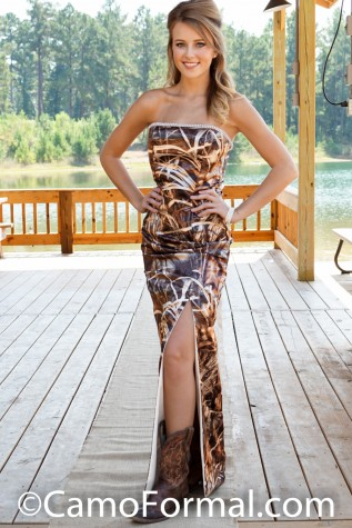 8073FRT Slim Camo Fully Lined Sheath with Flat Top and Rhinestone Trim and Front Split