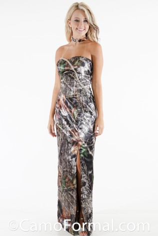Front:: 8073RS Camo Dress with Rhinestone Sweep