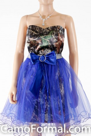 8076 Mossy oak with Royal and Purple Tulle Overskirt