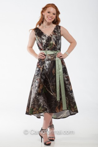 Bm8591 Sleeveless Camo Dress Quot V Quot Front And Back Neckline