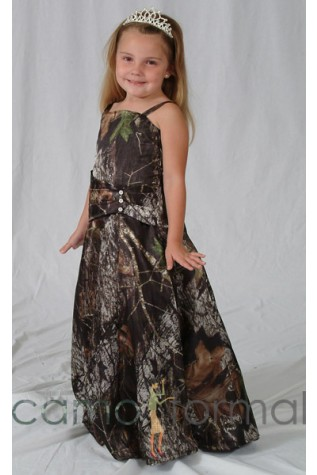 8599 Flowergirl dress in Realtree APG and Canary Waist Accent