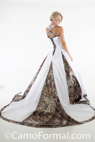 Unbeliveably Elegant: Very full aline Wedding Gown with Cathedral Train accented with Camo Godets