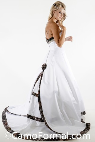 Shown here with Train Detached: 8900 Scalloped Cathedral Satin and Camo Wedding Gown