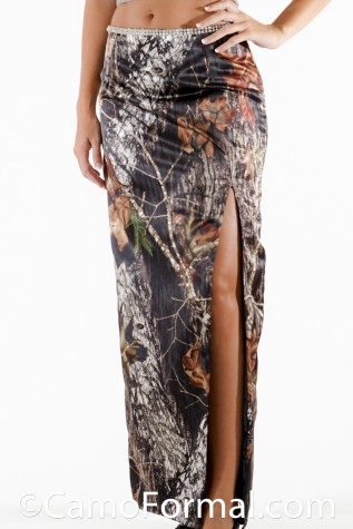 Long Slim Camo Skirt with Front Split