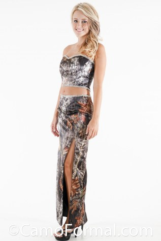 Sidefront: T9048-S3037 Camo Crop Top and Slim Camo Skirt with Rhinestone Trim