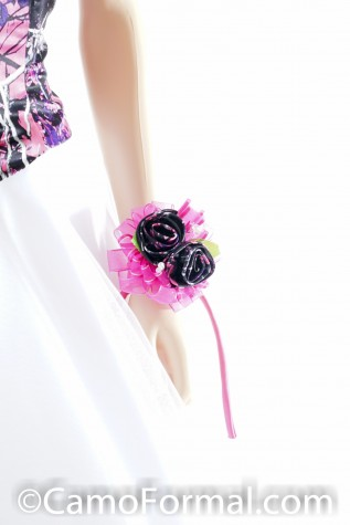 Muddy Girl 2 Rose Corsage with Fuscha Tulle and Ribbon