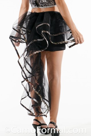 Mini Satin Skirt with Net Overlay trimmed in Camo
