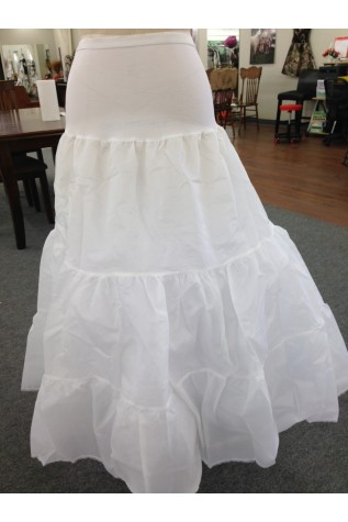 Double ruffle Natural Spandex Dropped Waist Bridal Slip