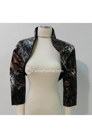 Camo Short Jacket with 3/4 Sleeves - Queen Ann Collar