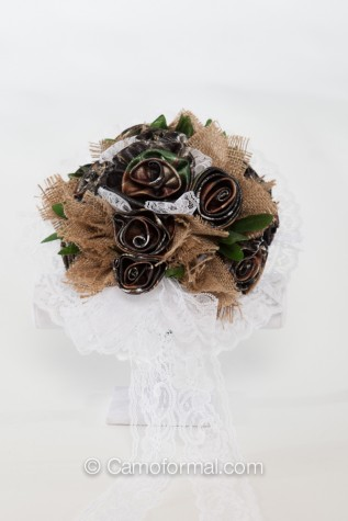 Camo Burlap Bridal Bouquet with White Lace