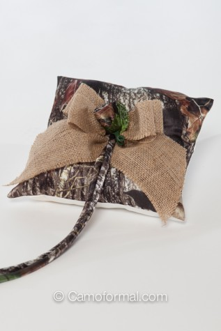 Mossy Oak Pillow with Burlap Bow and Camo Rose