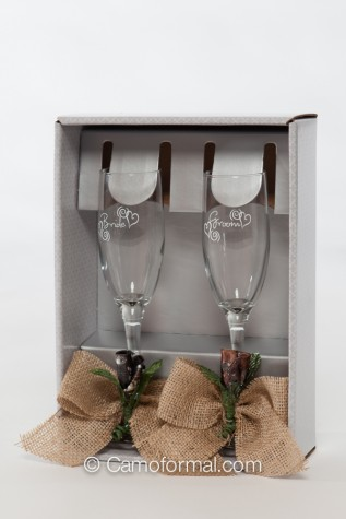 Toasting Flute Glasses with Burlap and Mossy Oak Rosebud