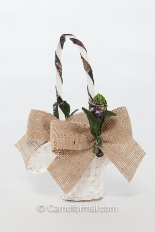 Tiny Favor Basket  with Burlap Bow and Camo Rosebud