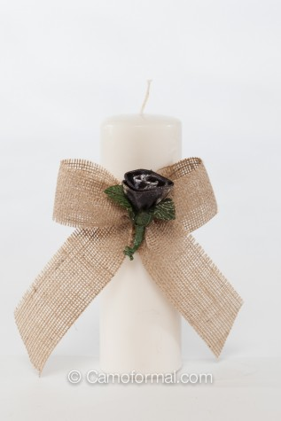 Unity Candle with Burlap Bow and Camo Rosebud