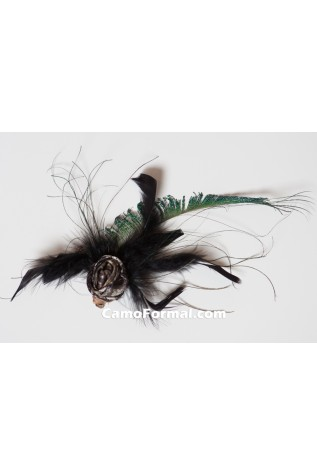 Peacock, Camo Rose and black feather hair clip