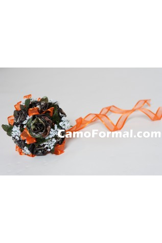 Camo bridesmaids bouquet with Hunter's Orange Ribbon