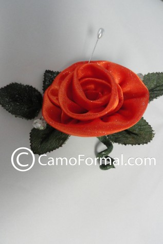 Boutonniere shown in Hunter's Orange with Crystals