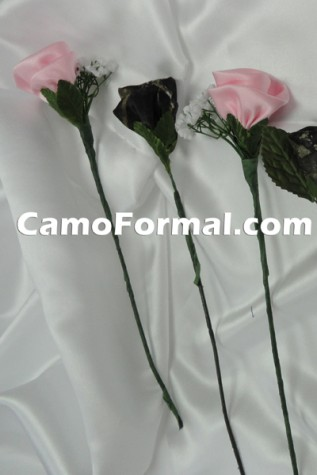 Long Stem Camouflage and Pink Roses