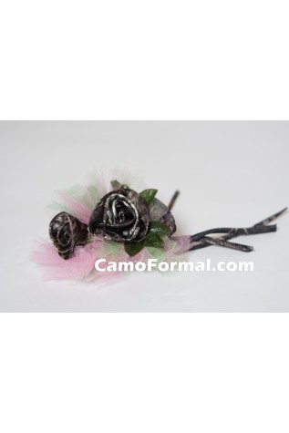 3 Roses Corsage in Mossy oak and 2 colors tulle