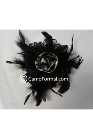 Camo Rose, Ribbon, and Feather Hair Clip