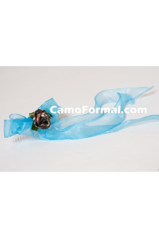 Small Rose and Ribbon Hair Barrette