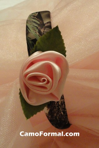 Camo Covered Headband with Rose